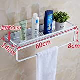 Space aluminum kitchen rack bathroom accessories free punch toilet 1-story single-tier Towel rack towel rack from nails hair dryer (Punch) widened the tray bar 60 cm