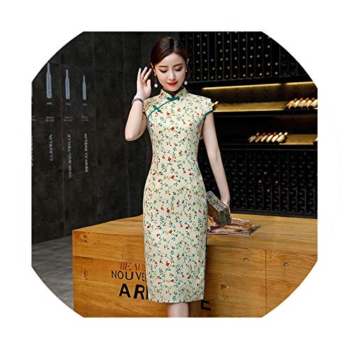 Noble Sexy Ladies Cheongsam Chinese Style Mandarin Collar Dress Womens Qipao Slim Party Dresses Vestido,L -