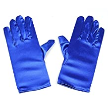 Women Wrist Length Adult Size Stretchy Satin Gloves … (Blue)