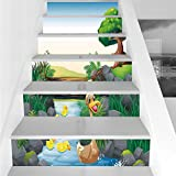 Stair Stickers Wall Stickers,6 PCS Self-adhesive,Duck,Cartoon Mother and Ducklings River Kids Fun Farm Animals Print Outdoor Little Feathers,Multicolor,Stair Riser Decal for Living Room, Hall, Kids Ro
