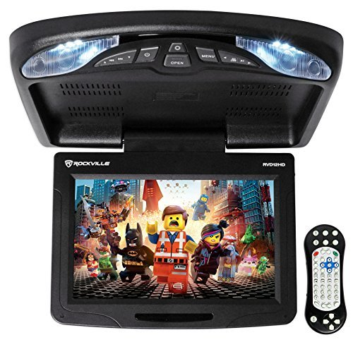 Rockville RVD12HD-BK 12' Black Flip Down Car Monitor DVD/USB/SD Player + Games