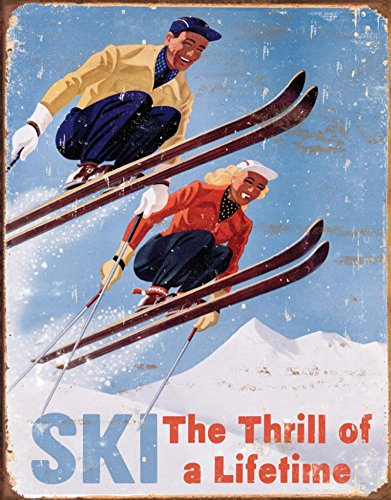 Ski - Thrill of a Lifetime Metal Tin Sign , 12x16 (Signs Ski Vintage)