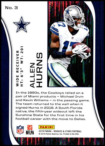 d6701c6eb0f Amazon.com: 2018 Rookies and Stars Football #3 Allen Hurns Dallas Cowboys  Official NFL Trading Card Produced by Panini: Collectibles & Fine Art