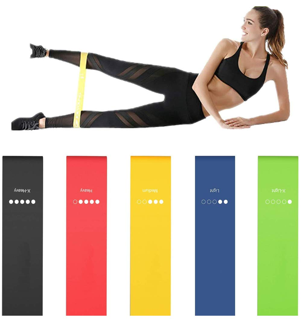 Odoland Strength Fitness Durable Natural Lateral Loop Exercise Bands - Best for Stretch Therapy Running Preparation Pilates Rehabilitation Home Gym with Guide Book and Case