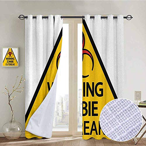 NUOMANAN Thermal Insulated Blackout Curtain Zombie,Warning The Zombie Outbreak Sign Cemetery Infection Halloween Graphic,Earth Yellow Red Black,Blackout Draperies for Bedroom Living Room 84