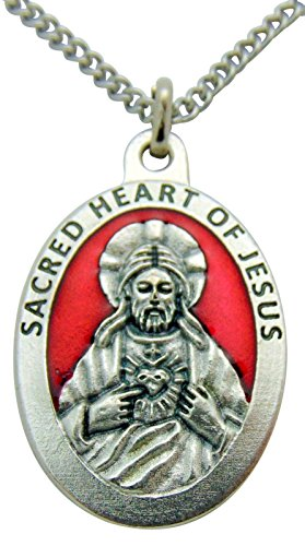 Westman Works Sacred Heart of Jesus Medal 1 1/2 Inch Pendant Red Enamel Metal Medallion with Chain ()