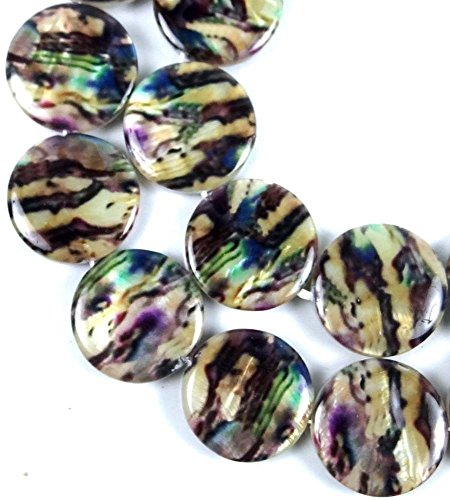 20mm Brown Beige Swirl with Purple Lip Shell Mother of Pearl Disc Beads 16
