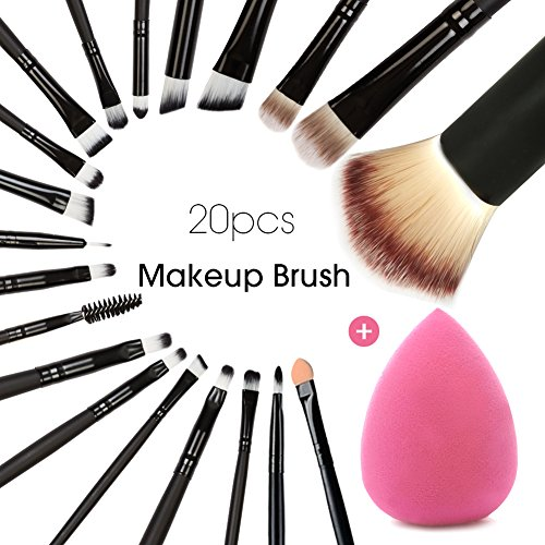 20+1 pcs/set Makeup Brush Set tools Makeup tools Powder Foundation Eyeshadow Eyeliner & makeup blender sponge