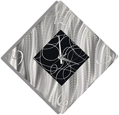 Statements2000 Silver Black Metal Wall Clock