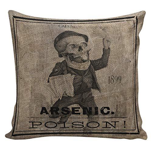 Dozili Vintage Halloween Skull Poison Label Arsenic Throw Pillow Cover ()