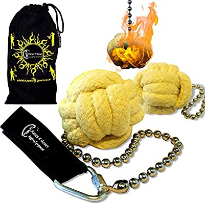 Travel Bag Flames /'N Games Pro Fire Poi set /'Panther Paw/' Knot Poi