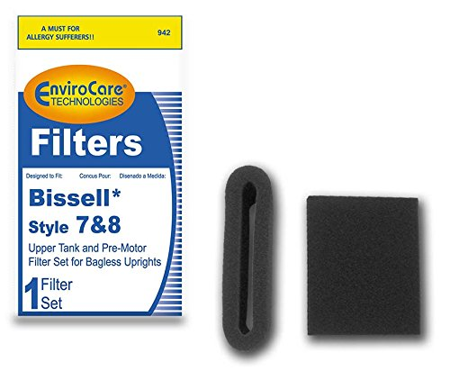 EnviroCare Replacement Pre Motor Foam Filter for Bissell Style 7/8/14 1 Upper Tank Filter and 1 Pre Mortor Filter