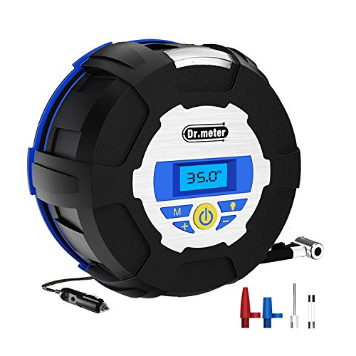 - Dr.meter 12V Tire Inflator Pump, 150PSI Auto Air Compressor Pump, Portable Digital Gauge Tire Inflator with for Car, Truck, Bicycle, Basketball, (3 High-Air Flow Nozzles& Adaptors included)