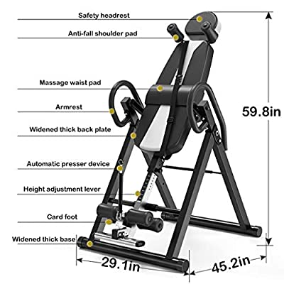Heavy Duty Inversion Table - Gravity Inverted Gravity Table with Headrest & Adjustable Protective Belt Back Stretcher Machine for Pain Relief Therapy (from US, Black): Kitchen & Dining