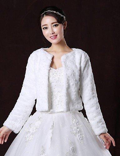 Abrigos de piel / boda envolturas / piel abrigos abrigos/chaquetas de manga larga chaqueta de piel blanco flores de boda / fiesta/noche primicia frente ...