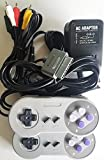 Cheap Replacement AC Adapter Power Cable Cord With A/V Audio Video Cable and 2 Controllers For Super Nintendo SNES Bundle Pack by Classic Game Source inc.