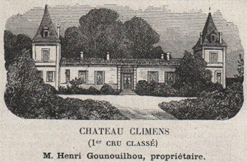 Grands VINS Blancs. BARSAC. Chateau Climens (1er Cru Classé). Small - 1908 - Old Print - Antique Print - Vintage Print - Printed Prints of Gironde