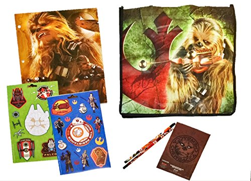[7 item LIMITED Disney Star Wars Bundle Exclusive [Chewbacca Journal, 2-pocket File Folder, 16 stickers, 2 pencils, 2 Recyclable Tote bags (Chewie & Millennium] (Star Wars The Force Unleashed 2 Darth Vader Costume Cheat Xbox)