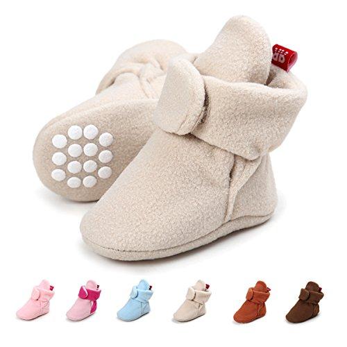 SOFMUO Baby Boys Girls Fleece Booties - Cotton Lining Anti-Slip Infant Warm Winter Crib Shoes(Tan,6-12 Month)
