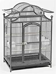 Cage Connention Pagoda Style Bird Cage with Hinged Door, 22 x 16 x 34, Gun Metal Grey