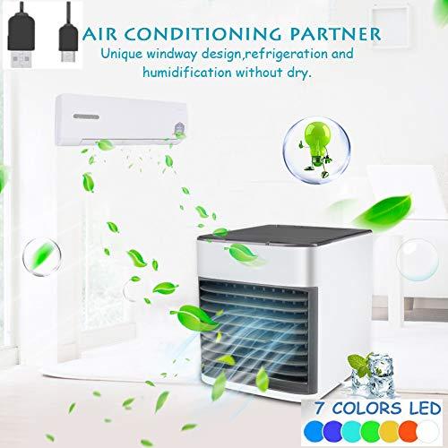NiLeFo 3 in 1 USB Portable Mini Air Conditioner,Air Conditioner - Mini Air Cooler - Personal Cooling Fan- Humidifier, Purifier (White)