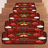 Christmas Decoration 5Pcs/Set Stair Mat Non-Slip Coral Fleece Resistant Carpet Stair Wall Stickers (F)
