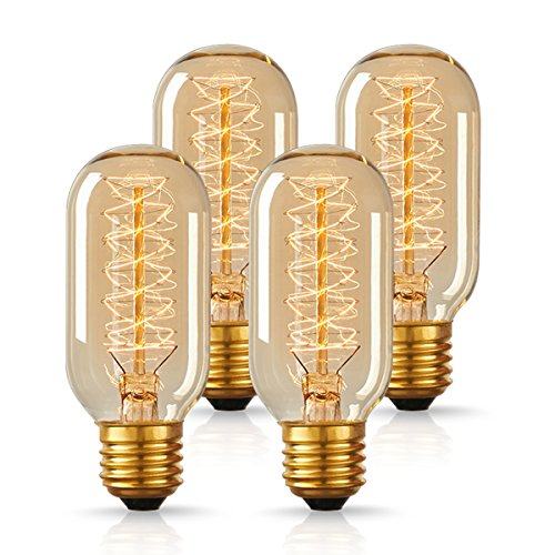 DORESshop Antique Light Bulbs, T45 Dimmable 60W Vintage Edison Light Bulbs, Amber Glass, 2700K, E26 Edison Tubular Style Bulbs for Home Light Fixtures Decorative(4 (Antique Colored Glass Light Fixtures)