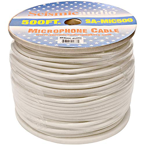 (Seismic Audio - SA-MIC500White - 500 Feet of White Microphone Cable on a Spool 3 Conductor PA/DJ Shielded Mic Cable - 500 Ft Spool)