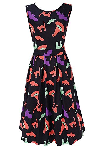(DREAGAL Halloween Witch Hat and Cat Prints Fit and Flare Cocktail Dress for Teen Girls)