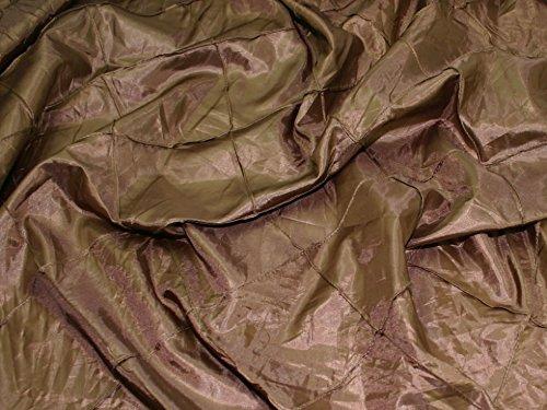Large Embroidered Squares Taffeta Dress Fabric Brown - per metre
