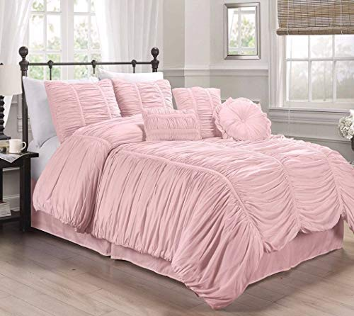 Collection Textured Comforter Set Color Pink Size California King from Unknown