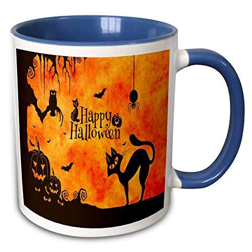 3dRose Sandy Mertens Halloween Designs - Cat, Owl, Bats, Spider, Jack o Lanterns Silhouettes, 3drsmm - 11oz Two-Tone Blue Mug (mug_290231_6) ()