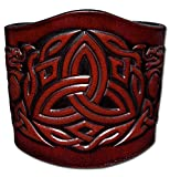 Leather Bracelet Wristband Cuff Embossed 80mm Celtic Trinity Celtic Dragons (5) Antique-mahogany with Snap Fasteners (Nickel Free)