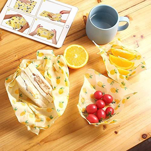 Set di involucri in cera d\'api per alimenti biologici, per evitare sprechi di formaggio e panini, in plastica sostenibile, lavabili C