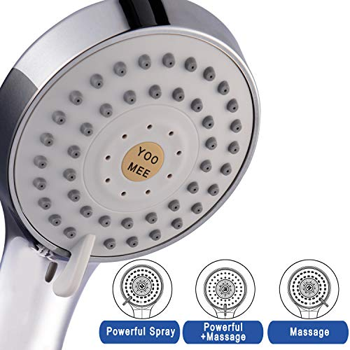 YOO.MEE High Pressure Handheld Shower Head with Powerful Shower Spray against Low Pressure Water Supply Pipeline, Multi-functions, Bathroom Accessories w/ 79'' Hose, Bracket, Flow Regulator, Chrome