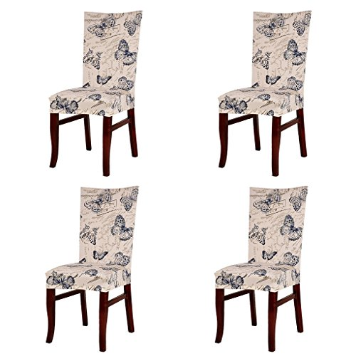 Jiuhong Stretch Removable Washable Short Dining Chair Protector Cover Slipcover, Style 06, 4 ()