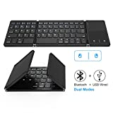Foldable Bluetooth Keyboard, Vive Comb Dual Mode Bluetooth & USB Wired Rechargable Portable