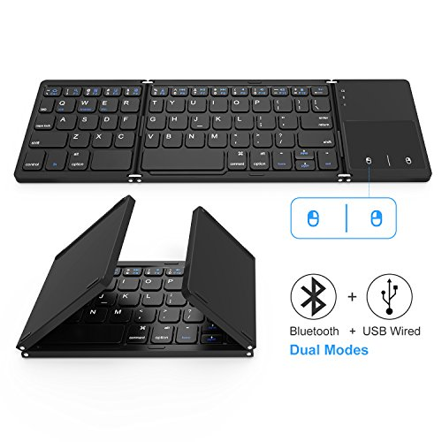 Foldable Bluetooth Keyboard, Jelly Comb Dual Mode Bluetooth & USB Wired Rechargable Portable Mini BT Wireless Keyboard with Touchpad Mouse for Android, Windows, PC, Tablet-Black (Best Portable Keyboard For Tablet)