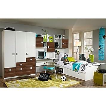 Kinderzimmer Pascal 4 Tlg Weiß / Braun Jugendzimmer Kleiderschrank  Schreibtischregal + Regal Inkl Bettkasten Bett