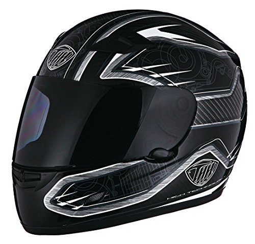 Thh Full Face - THH TS-39 Motor Street Helmet Black and Silver 2X-Large