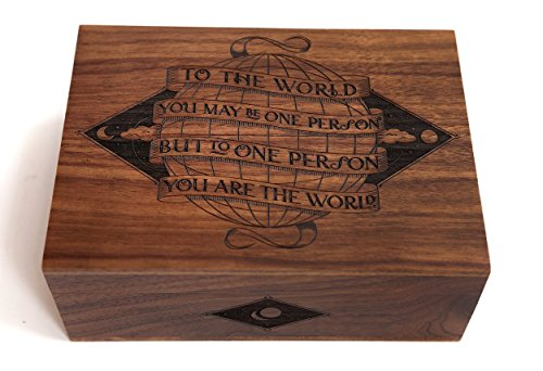 Wood Keepsake Box - You Are The World Laser Cut Wood Keepsake Box (Wedding Gift/Baby Shower Gift/Heirloom / Decorative/Handmade)
