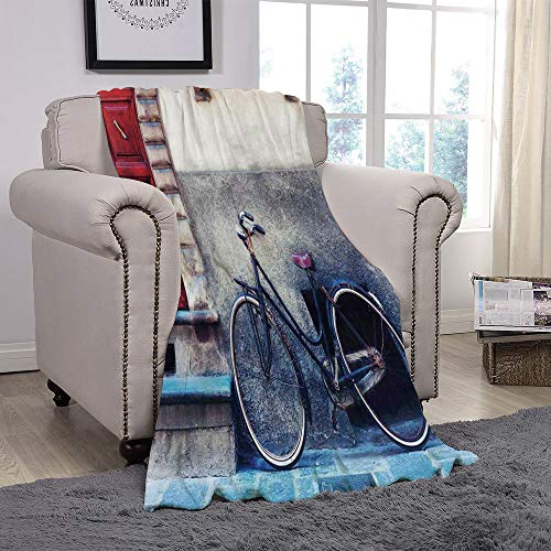 YOLIYANA Light Weight Fleece Throw Blanket/Bicycle,Vintage Bicycle Leans on City Walls Modern Urban Regular Transportation Vehicle Image,Multi/for Couch Bed Sofa for Adults Teen Girls Boys
