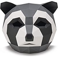 HATHAWAY Creative Little Raccoon Headgear DIYCOS Animal Mask Material Paper Mould Handmade Halloween Party Mask Masquerade Men and Women Head Cover Size: 32×31×25cm (Color : Gray)