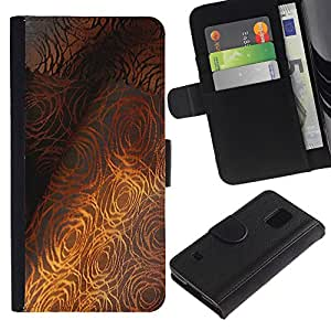 UberTech / Samsung Galaxy S5 V SM-G900 / Gold Fine Textile Pattern Grey Rose / Cuero PU Delgado caso Billetera cubierta Shell Armor Funda Case Cover Wallet Credit Card