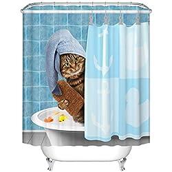 Fangkun Animals Funny Kitten Cat Bathing Decor Bathroom Shower Curtain 3D Printing