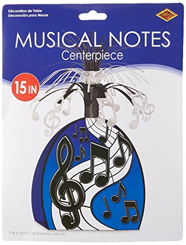 Musical Notes Centerpiece (black & silver) Party Accessory  (1 count) -