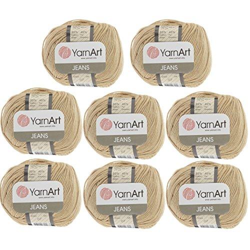 55% Cotton 45% Acrylic Yarn YarnArt Jeans Cotton Blend Thread Crochet Hand Knitting Art Lot of 8skn 400 gr 1392 yds color Beige 07
