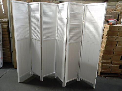Wood Shutter Door 6-Panel Room Divider White