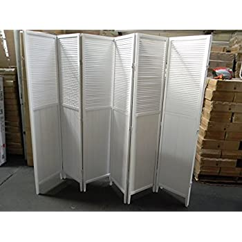 Wood Shutter Door 6 Panel Room Divider (WHITE)