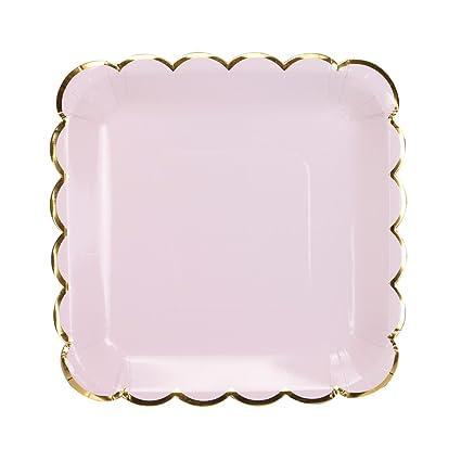 Geeklife Gold Paper Party Plates Metallic Border 9 Inch Dessert Pink